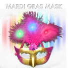 Light Up Mardi Gras Plume Mask