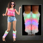 Lighted Fluffies - Assorted Colors lighted leg warmer, ligh up leg warmer, rave leg warmer, rave wear, rave gear, fluffies, ladies, edm, edc, mardi gras, festival, dance, halloween