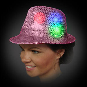 Flashing Fedora Lighted Hat with CR2016 Batteries