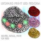 Leopard-Print Sequin Fedora mitzvah, lighted fedora, animal print, lighted hat, light up fedora, light up hat, flashing hat, blinking hat, men, ladies, women, dance, costume, new years, mardi gras, july 4th, vend