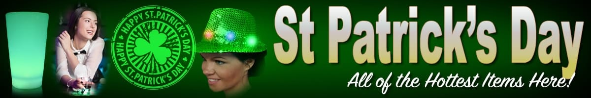St Patricks Day Deals on Glasses, Necklaces, Headwear, and Fun Light Ups!