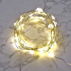8.5 Ft Fairy Wire, 50 Warm White LEDs, Power Option: AA Battery Pack with Timer String Light with Timer, Copper wire string light, dew drop LEDs, Silver Wire string lights, gold wire string lights, Christmas
