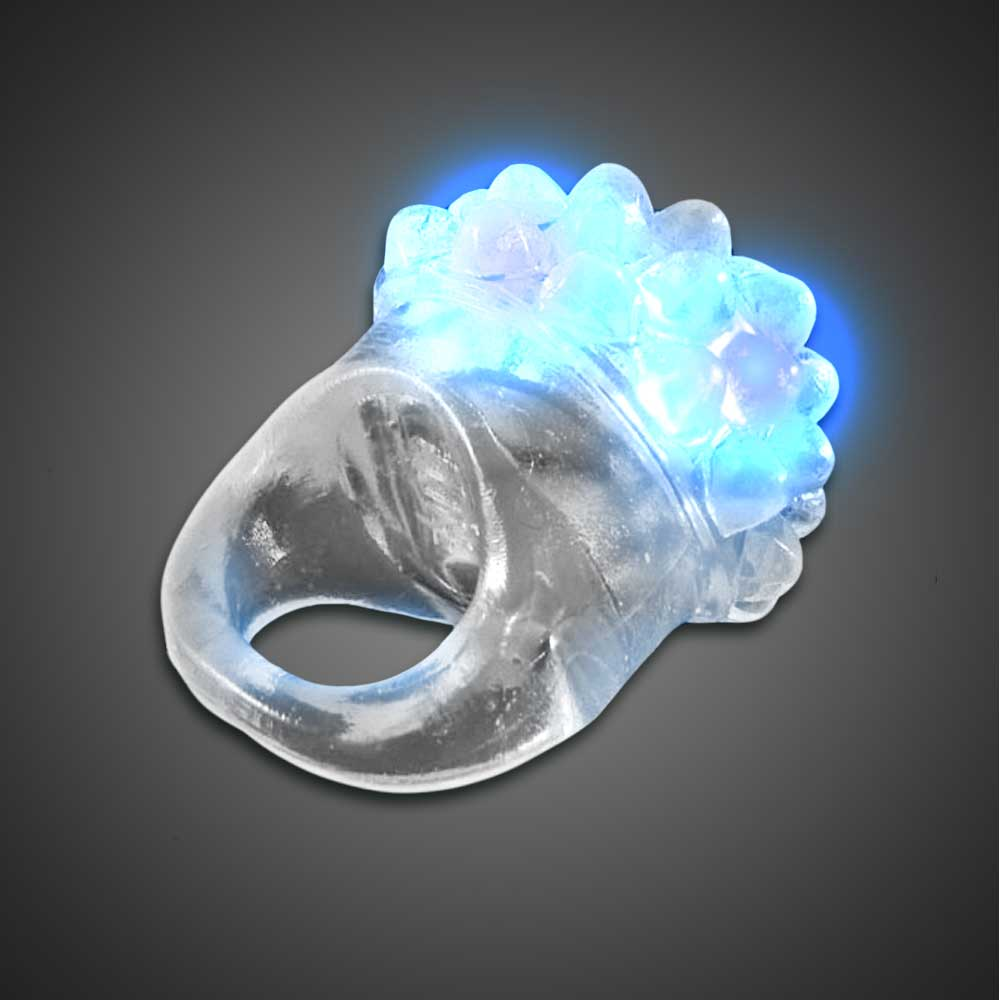 Clear Bubble Ring Blue LEDs blue lighted ring, flashing ring, LED ring, light up ring, squishy ring, give aways, throw, school, fundraiser, cheap, inexpensive, birthday party