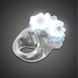 Clear Bubble Ring White LEDs  white lighted ring, flashing ring, LED ring, light up ring, squishy ring, give aways, throw, school, fundraiser, cheap, inexpensive, birthday party