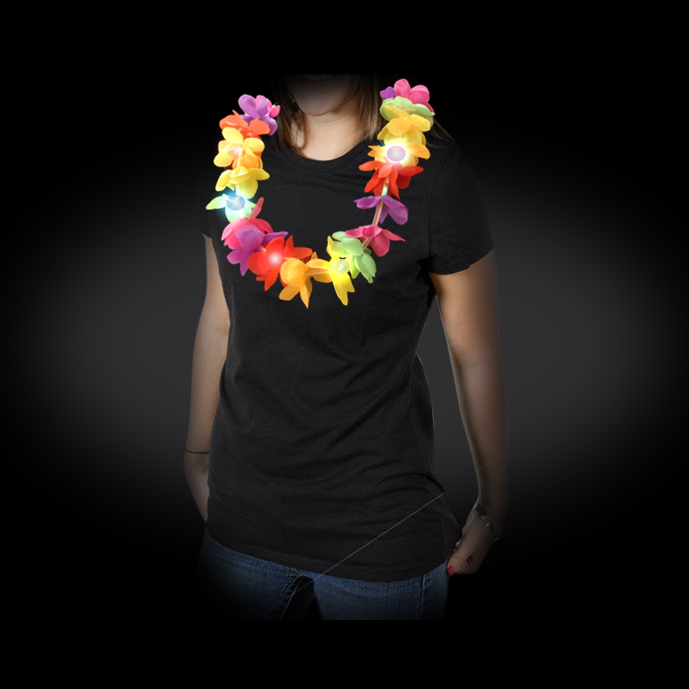 Battery operated flashing hawaiian lei necklace hawaiian flower lei flashing led necklace izmirmasajfo
