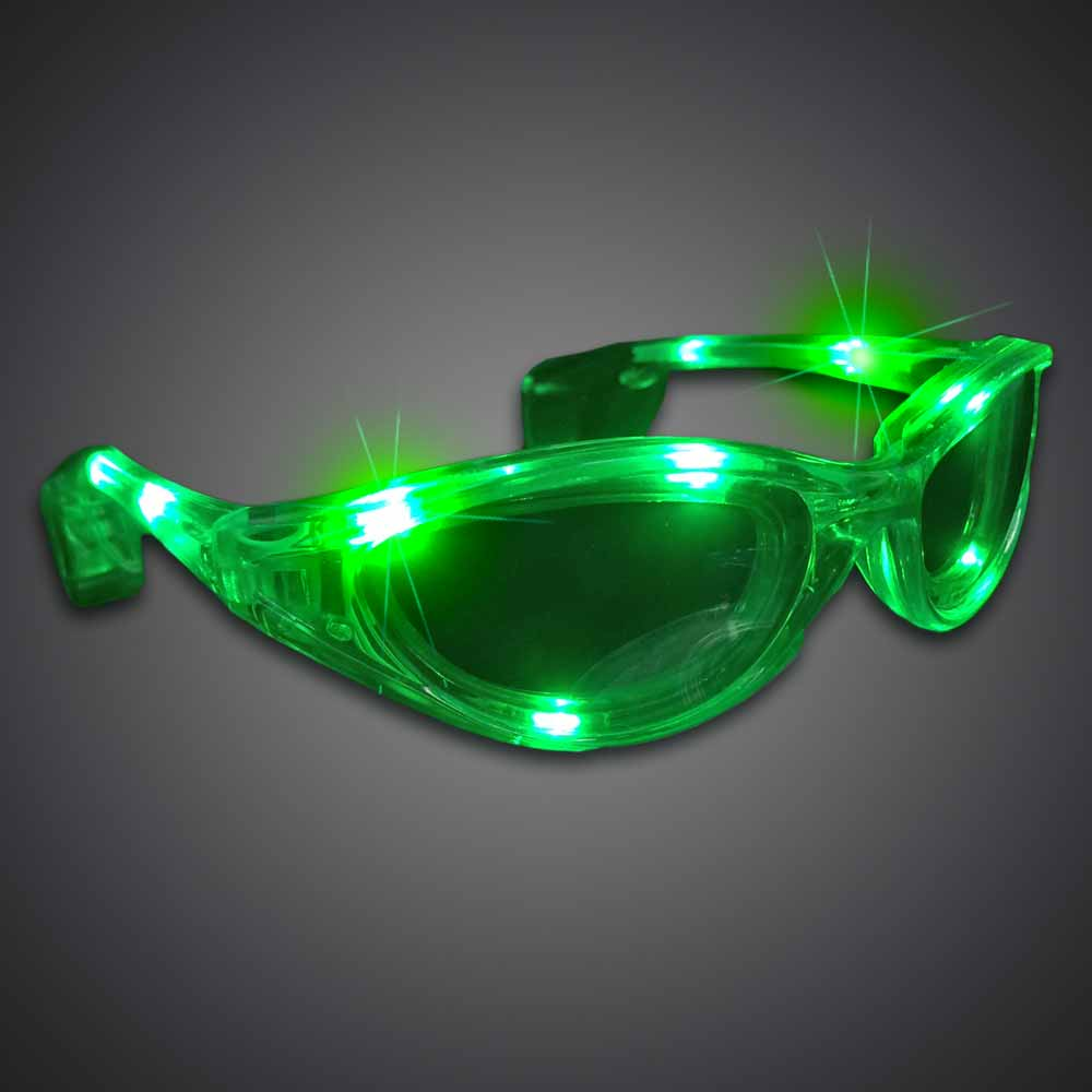 Green Wrap-Around Sunglasses  lighted sunglasses, light up sunglasses, LED sunglasses, wrap-around lighted sunglasses, wrap-around shades, men, boys, vend, july 4th, party, dance, pep rally, school