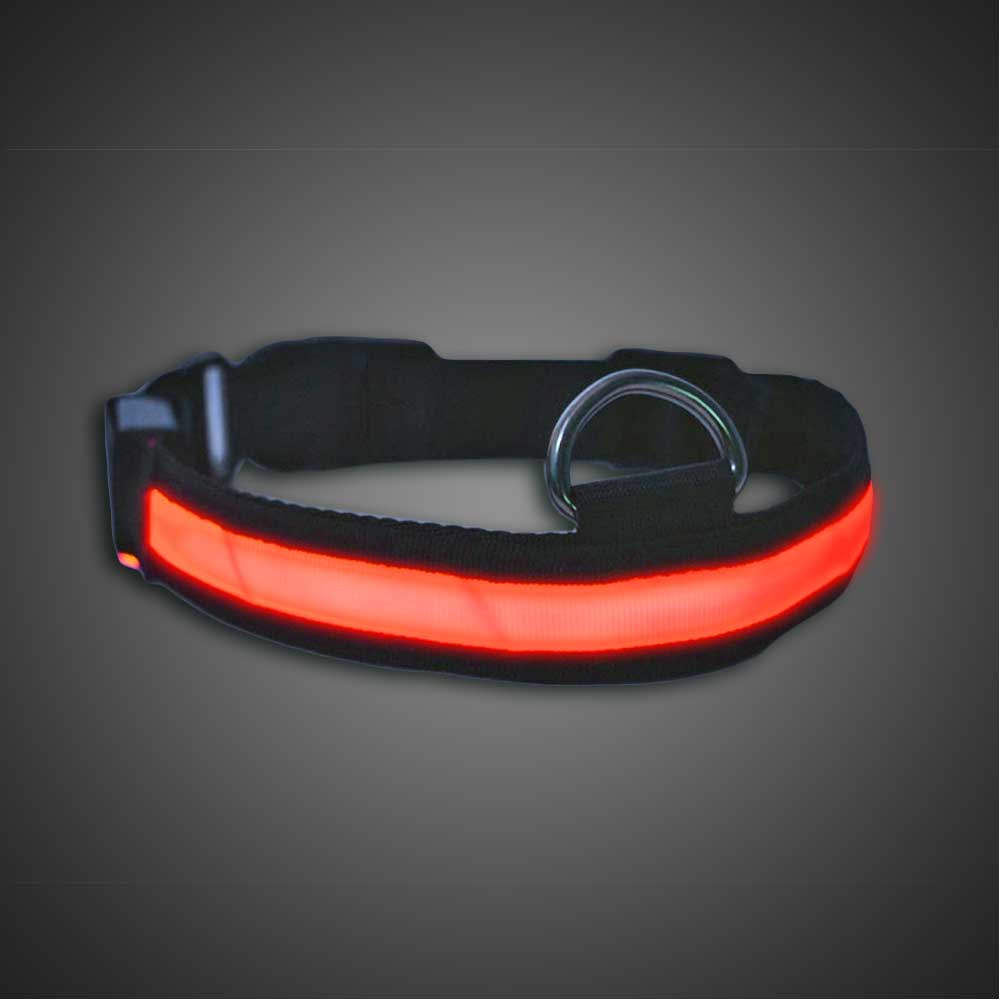 Light Up LED Dog Collar (CLOSE OUT) LED Dog Collar, Light Up Dog Collar, Lighted Dog Collar, burning man, running, night, visibility, safety, reflective, glow run, race, glow race, night race