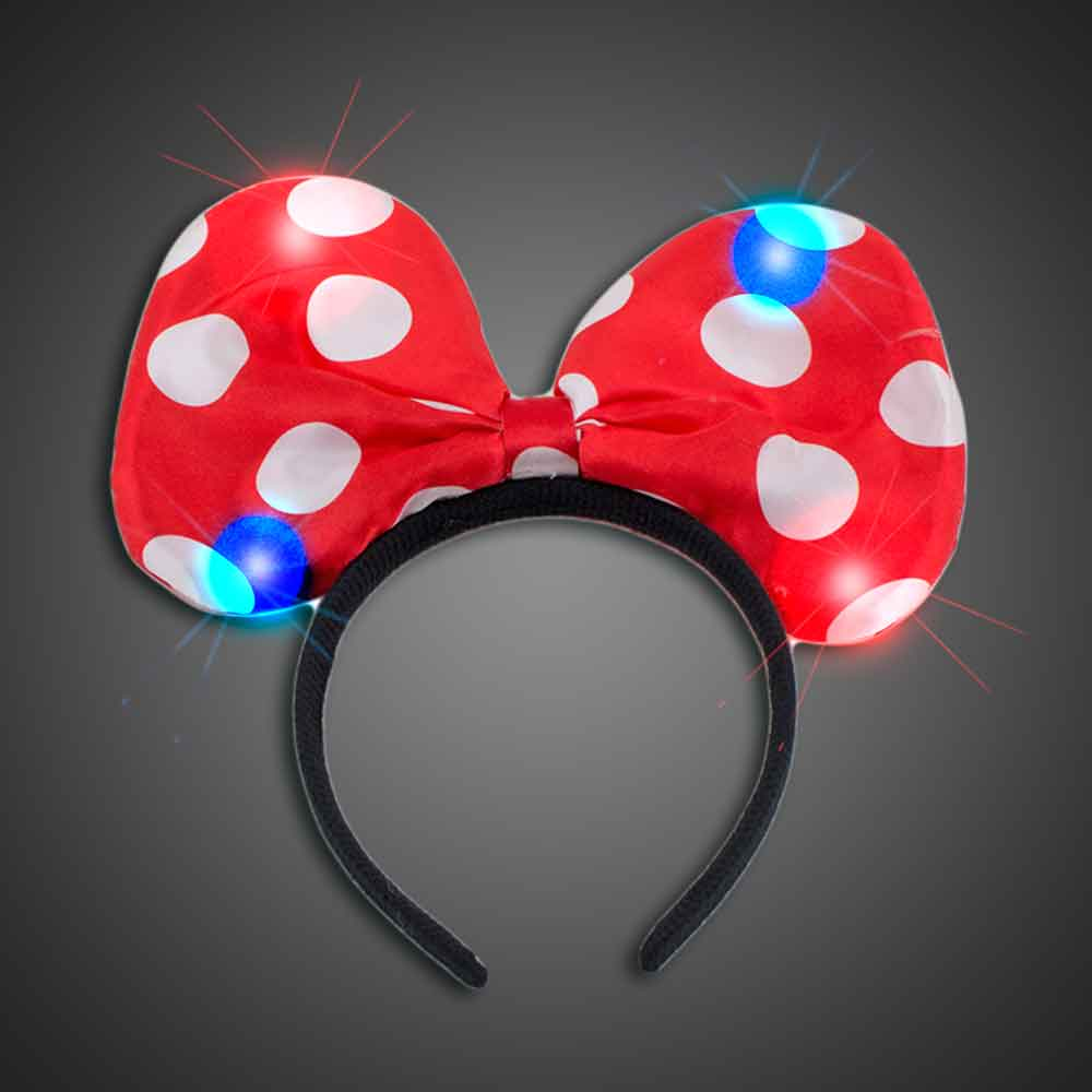 Lighted Polka Dot Red Headbow lighted Red headbow, light up headbow, minnie head bow, party favor, birthday party, flashing head bow, costume, lighted head bow