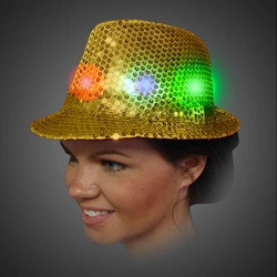 Lighted Sequin Gold Fedora - AG13  lighted Gold fedora, lighted hat, light up fedora, light up hat, flashing hat, blinking hat, men, ladies, women, dance, costume, new years, mardi gras, july 4th, vend, prom