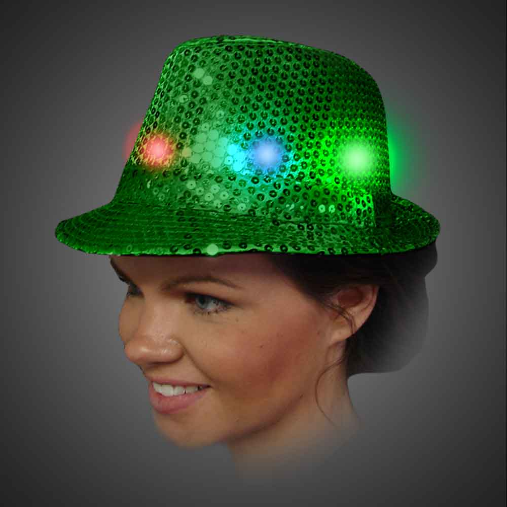 Lighted Sequin Green Fedora - AG13   lighted green fedora, lighted hat, light up fedora, light up hat, flashing hat, blinking hat, men, ladies, women, dance, costume, new years, mardi gras, july 4th, vend, prom