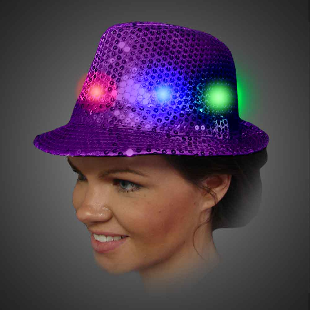 Lighted Sequin Purple Fedora - AG13  lighted purple fedora, lighted hat, light up fedora, light up hat, flashing hat, blinking hat, men, ladies, women, dance, costume, new years, mardi gras, july 4th, vend, prom