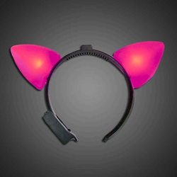 Pink Lighted Cat Ears  pink cat ears, cat, headwear, boppers, led headband, edm, edc, cosplay, costume, rave, festival, burning man