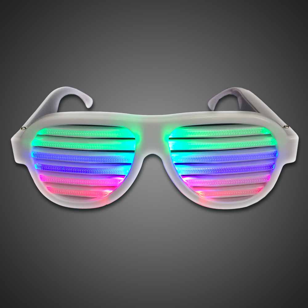 Sound Activated Multicolored Shutter Shades EL wire sunglasses, lighted sunglasses, light up sunglasses, LED sunglasses, wrap-around lighted sunglasses, wrap-around shades, men, boys, vend, july 4th, party, dance
