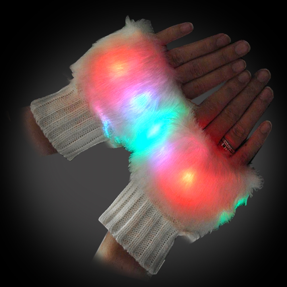 Light Up Fingerless Gloves (One Pair) glow glove, rave glove, glow-in-the-dark gloves, glowing gloves, light-up glove, festival, edm, edc, rave, burning man, cosplay, costume