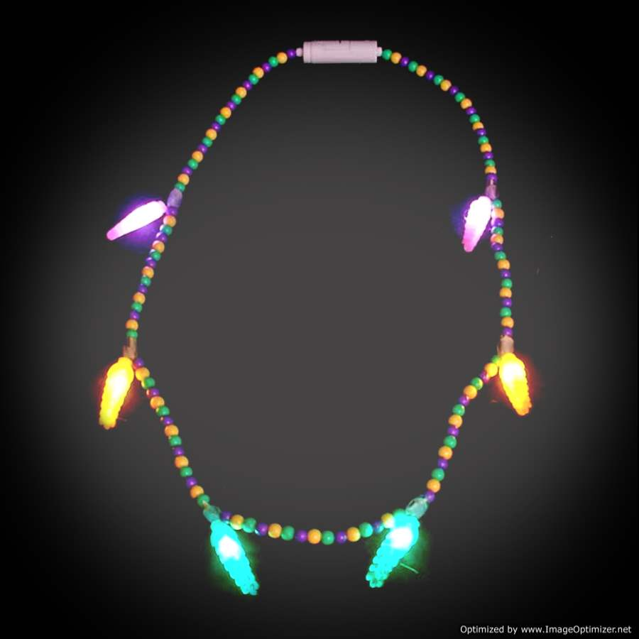 Battery-operated Light Up Mardi Gras Voodoo Necklace