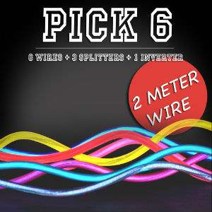 EL Wire Pick Six - 6 * 2m - 40ft electroluminescent wire, cool neon, fluorescent wire, el wire