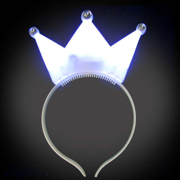 White Lighted Crown Headband crown, mardi gras, princess, headwear, boppers, led headband, edm, edc, cosplay, costume, rave, festival, burning man