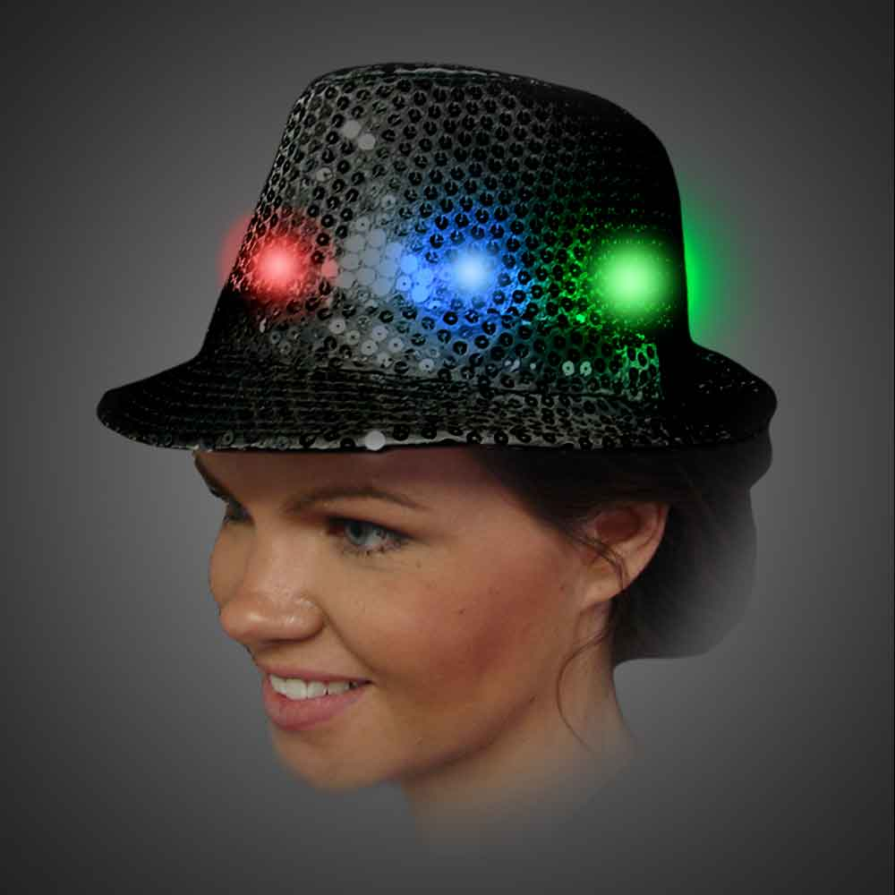 Lighted Sequin Black Fedora - AG13 lighted black fedora, lighted hat, light up fedora, light up hat, flashing hat, blinking hat, men, ladies, women, dance, costume, new years, mardi gras, july 4th, vend, prom