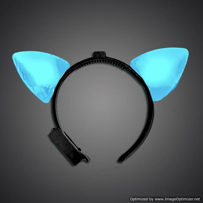 Blue Lighted Cat Ears blue cat ears, cat, headwear, boppers, led headband, edm, edc, cosplay, costume, rave, festival, burning man