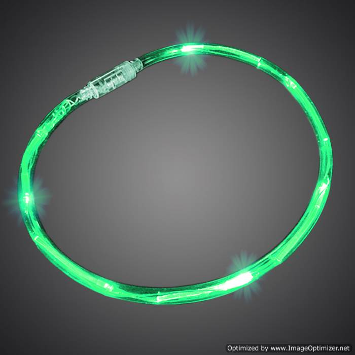 Green Neon Chaser Necklaces flashing necklace, lighted necklace, chasing necklace, LED necklace, battery-operated necklace, necklace, tube necklace, mitzvah, party, mardi gras, throw, halloween, july 4th, vend, fundraiser, school, give away, cheap, inexpensive