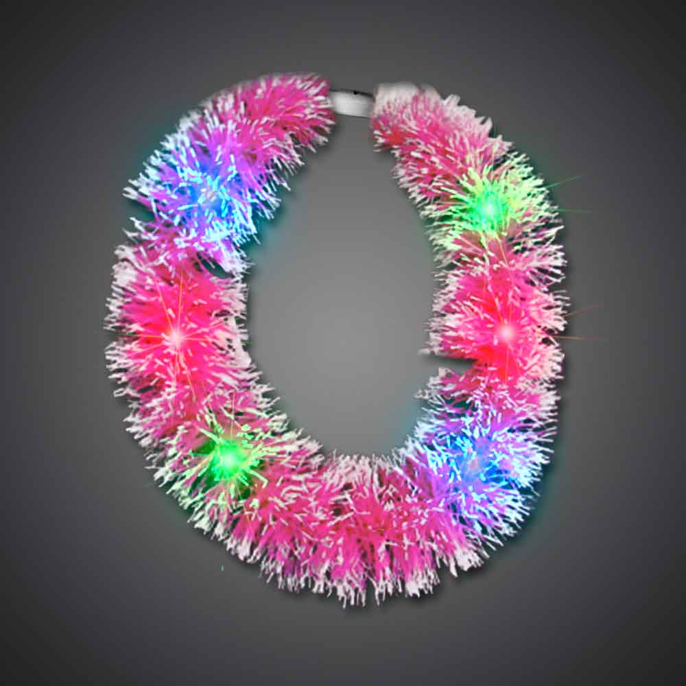 Pink Grass Lei hawaiian, mardi gras, luau, throw, give away, school, Grass Lei, Flashing Lei, Lighted Lei, light-up lei, lighted necklace, flashing necklace, party necklace, light-up necklace