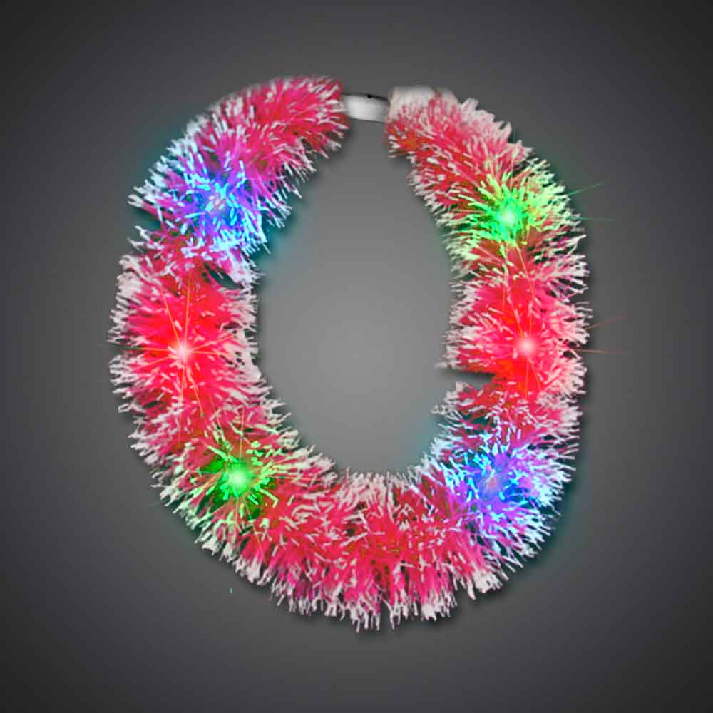 Red Grass Lei hawaiian, mardi gras, luau, throw, give away, school, Grass Lei, Flashing Lei, Lighted Lei, light-up lei, lighted necklace, flashing necklace, party necklace, light-up necklace