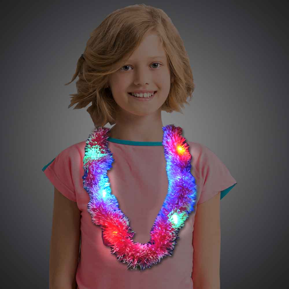 Assorted Color Grass Leis hawaiian, mardi gras, luau, throw, give away, school, Grass Lei, Flashing Lei, Lighted Lei, light-up lei, lighted necklace, flashing necklace, party necklace, light-up necklace