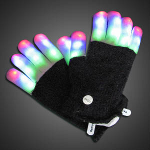 Mit Finger Gloves Lighted Gloves, LED Gloves, Flashing Gloves, Lighted Mitts, LED Mitts, Flashing Mitts, Light Up Gloves, Rave Gloves