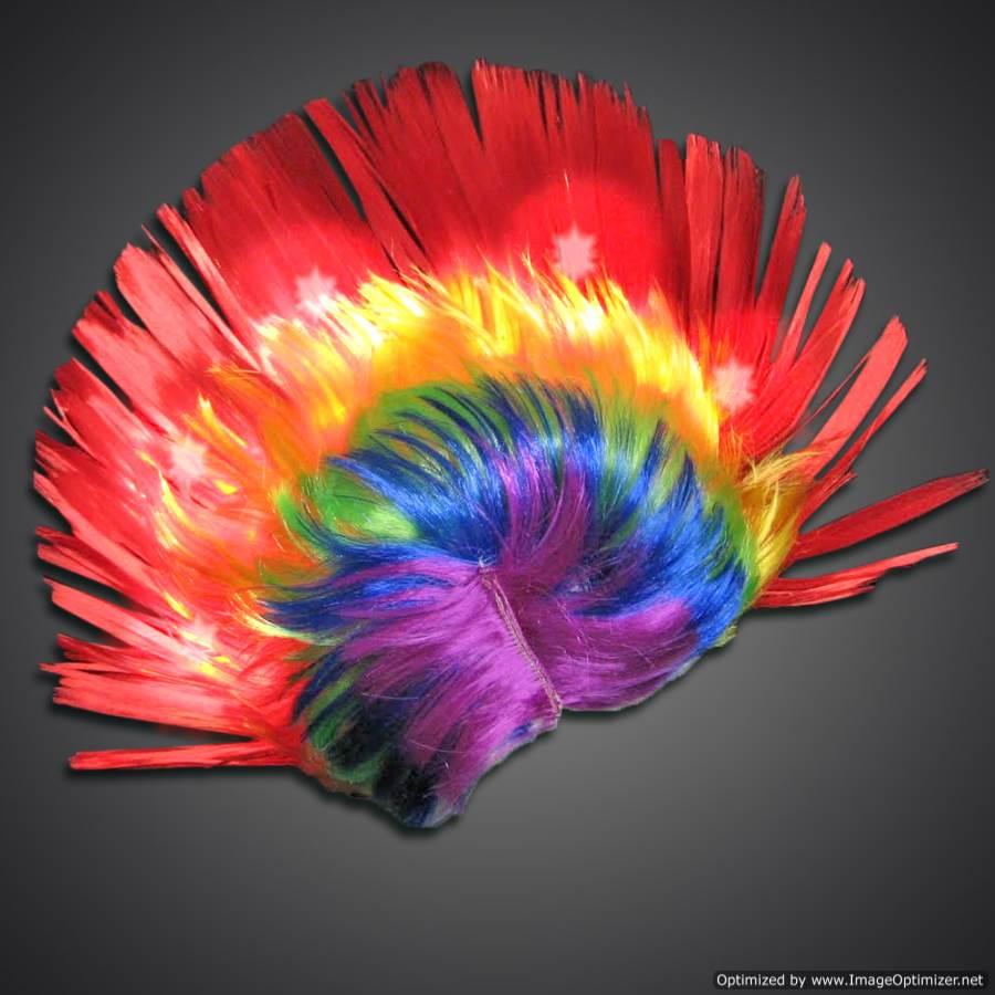 Extreme Glow Lighted Rainbow Mohawk Wig