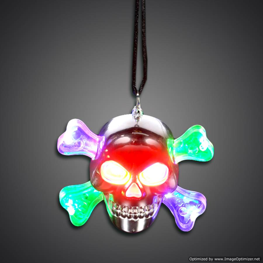 Light Up LED Skull Necklace halloween, pendent, led necklace, lighted necklace, flashing necklace, light show necklace, flashing pendant necklace, light-up necklace, disco, edm, edc, vend, kids, birthday, toy, vend, festival