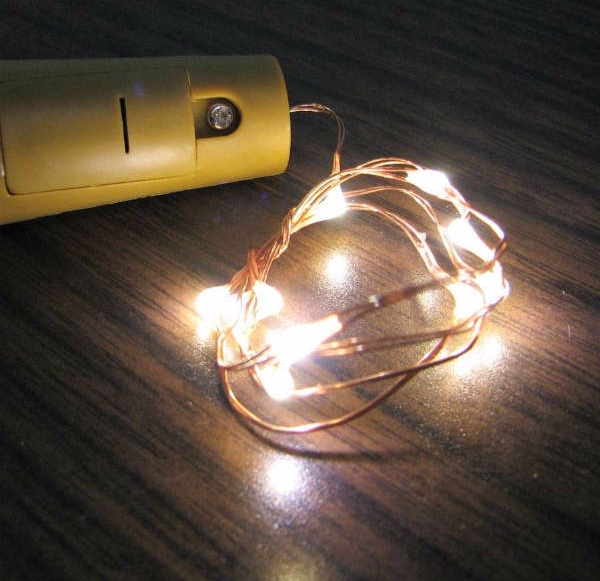 "Fairy Lights for Wine Bottles - 20"" Wire, 10 LEDs per strand - WINE10"