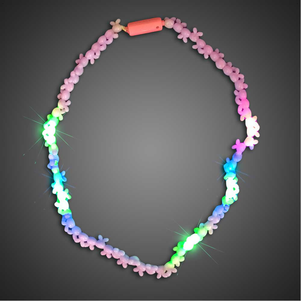 Flashing Red Light >> Battery-operated Light Up Multi Beaded Necklace