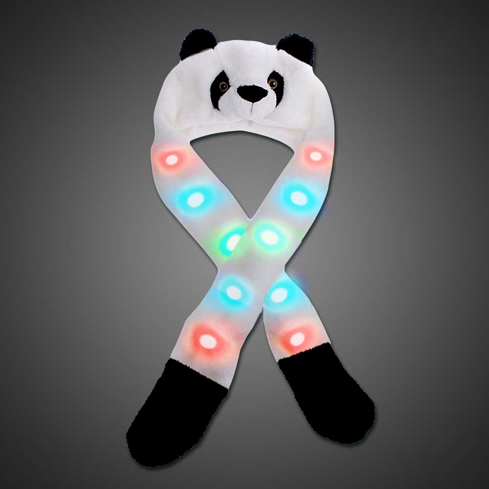 LED Panda Headwear - CLOSE OUT LED Panda, panda hat, led hat, rave wear, burning man, edc, edm, party, fun hat