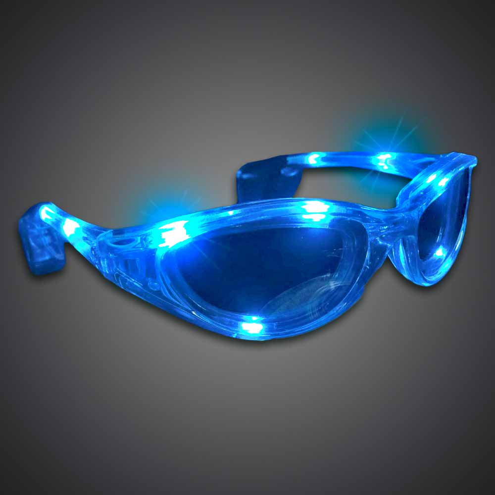 Blue Wrap-Around Sunglasses lighted sunglasses, light up sunglasses, LED sunglasses, wrap-around lighted sunglasses, wrap-around shades, men, boys, vend, july 4th, party, dance, pep rally, school