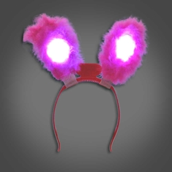 Lighted Rabbit Ears - CLOSE OUT lighted rabbit ears, light up rabbit ears, easter, bunny, edm, edc, cosplay, costume, rave, festival, burning man