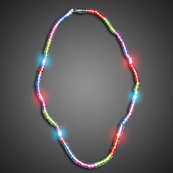Multi Color Beaded LED Necklace throw, kids, flashing beads, lighted bead*, lighted bead strand, inexpensive, cheap, Light Up Beaded Necklace, Beaded Necklace, Mardi Gras Necklace, Light Up Mardi Gras Necklace, lighted necklace, flashing necklace, party necklace, light-up necklace