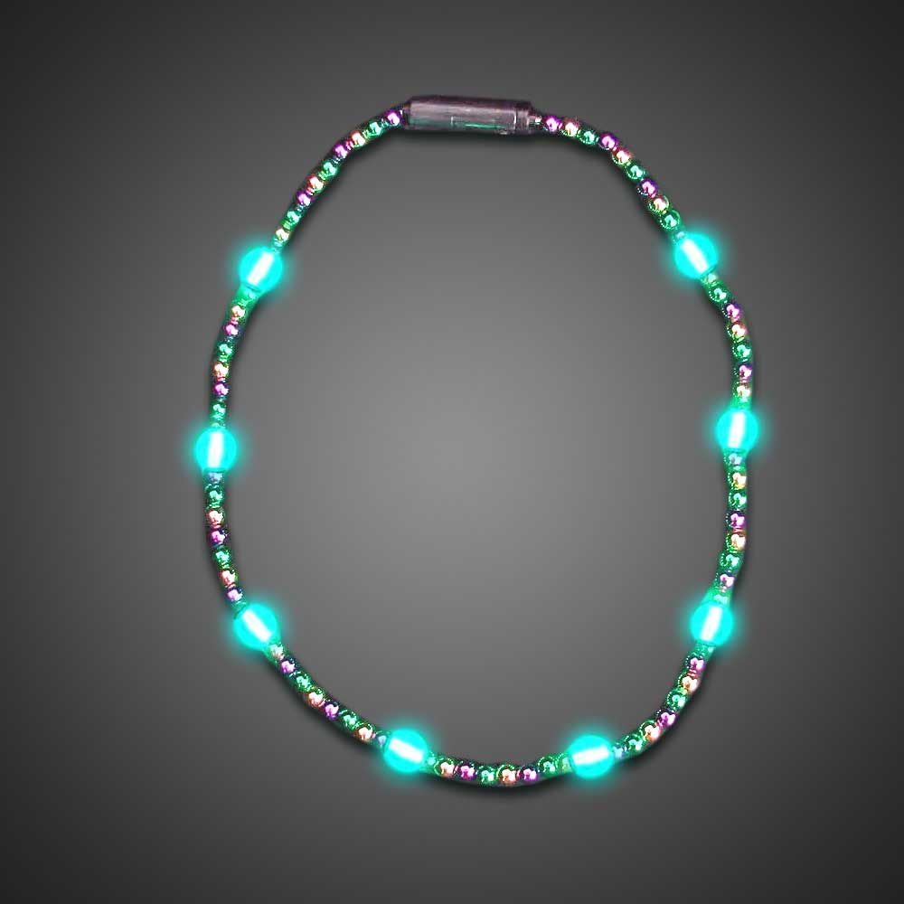 mardi gras shiny beaded necklace throw party kids lighted bead strand flashing - Lighted Christmas Necklace