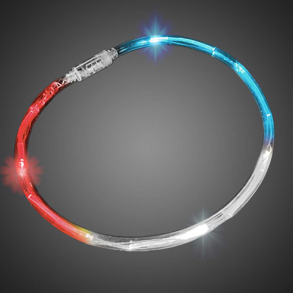 Red-White-Blue Flashing Chaser Necklaces flashing necklace, lighted necklace, chasing necklace, LED necklace, battery-operated necklace, necklace, tube necklace, mitzvah, party, mardi gras, throw, halloween, july 4th, vend, fundraiser, school, give away, cheap, inexpensive