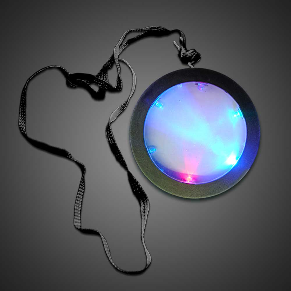 Flashing Medallions LED necklace, lighted necklace, flashing necklace, light-up necklace, medallion necklace, rolling games, give away, redemption, fundraiser, custom, festival, bar, rave