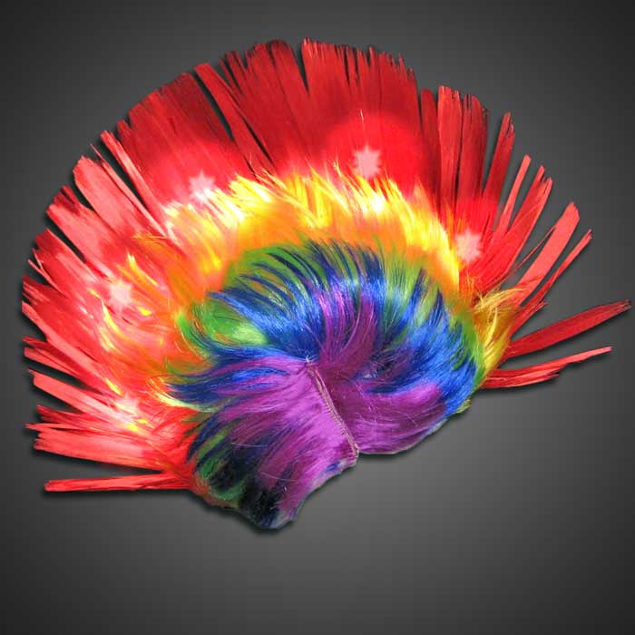 Rainbow LED Mohawk Wig wig, lighted mohawk, lighted headgear, light up mohawk, flashing mohawk, july 4th, vend, halloween, burning man, boys, fundraiser, costume, cosplay