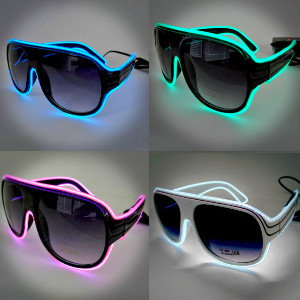Aviator-Style EL Wire Sunglasses
