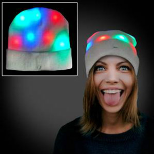 White Beanie with Multi-colored LEDs