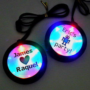 Customized Flashing Medallions (set of 24) custom, custom medallions, customized, personalized, personalized necklace, LED necklace, lighted necklace, flashing necklace, light-up necklace, medallion necklace, rolling games, give away, redemption, fundraiser, custom, festival, bar, rave