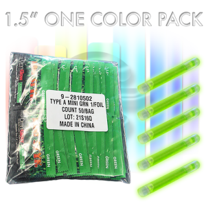 50-Pack of Mini 1.5 inch one-color glow sticks