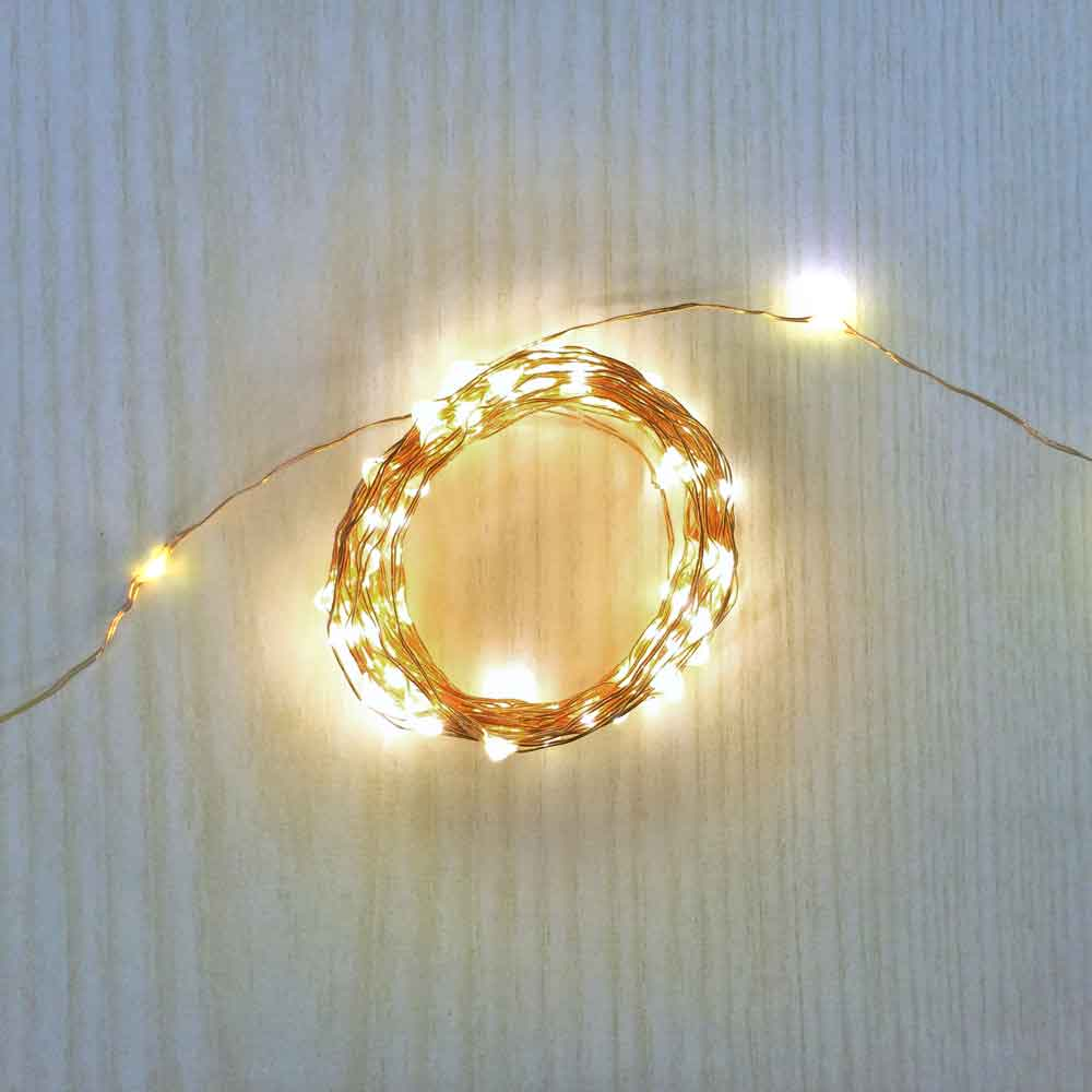 16.5 Ft Fairy Wire, 100 Warm White LEDs, Power Option: D Battery Pack with Timer String Light with Timer, Copper wire string light, dew drop LEDs, Silver Wire string lights, gold wire string lights, Christmas