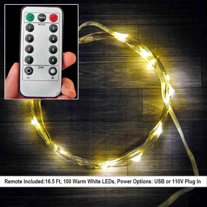 16.5 Ft Fairy Wire, 100 Warm White LEDs, Power Options: USB or 110V Plug In. Remote Control Included String Light with Timer, Copper wire string light, dew drop LEDs, Silver Wire string lights, gold wire string lights, Christmas