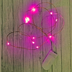 39 Inch Fairy Wire With Pink Leds Coin Cell Battery Pack Replaceable Batteries