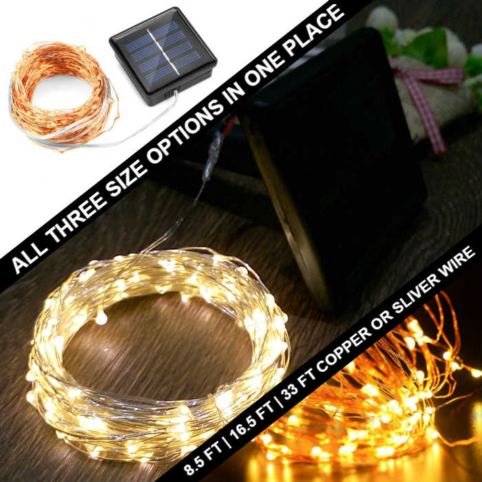 8.5 to 33 ft Fairy Wire, 50 to 200 Warm White LEDs, Power Option: Solar-Powered  copper wire string light, fairy lights, plug in lights, dew drop lights, long fairy lights, silver lights, copper lights