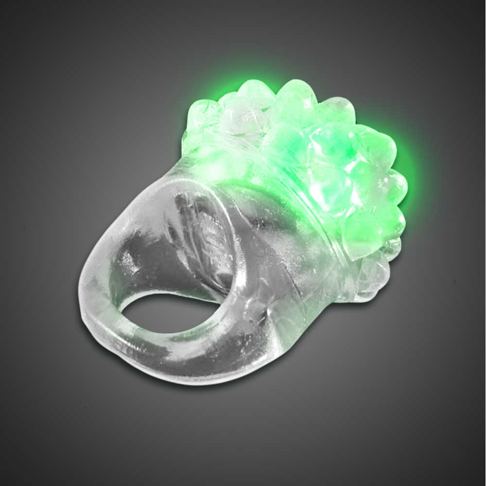 Clear Bubble Ring Green LEDs green lighted ring, flashing ring, LED ring, light up ring, squishy ring, give aways, throw, school, fundraiser, cheap, inexpensive, birthday party