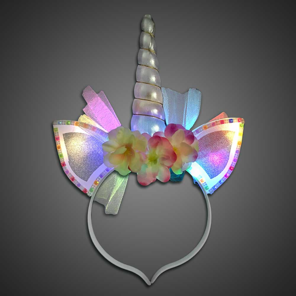 Colored Unicorn Horn with Rainbow Ears lighted unicorn headband, light up headband, unicorn headband, unicorn party favor, birthday party, flashing headband, costume, unicorn, unicorn costume, halloween unicorn, halloween